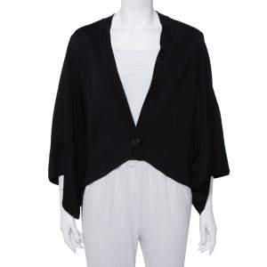 Givenchy Black Knit Cape Sleeve Detail Kimono Jacket M