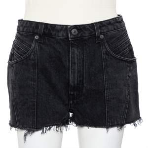 Givenchy Dark Grey Denim Washed Out Effect Raw Edge Detail Shorts M