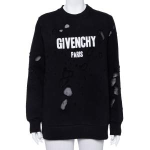 Givenchy Black Cotton Logo Printed Distressed Sweatshirt S