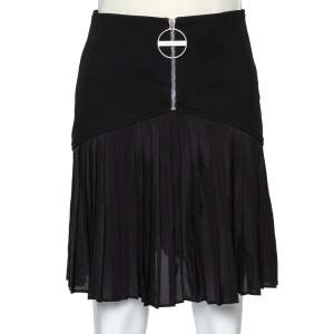 Givenchy Black Wool Pleated Detail Mini Skirt M