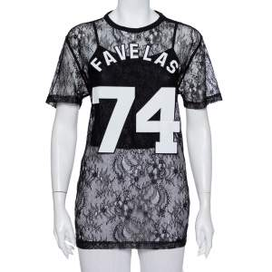 Givenchy Black Lace Favelas Applique Detail Short Sleeve Sheer Top S