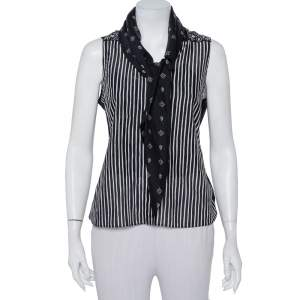 Givenchy Monochrome Multiprinted Cotton Oversized Collar Detail Sleeveless Shirt M