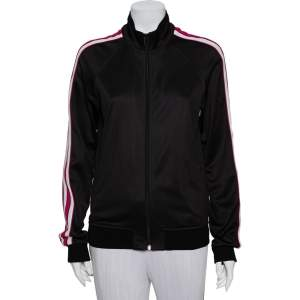 Givenchy Black/Pink Cotton Ticker Sleeve Zip Up Track Jacket M