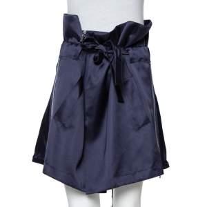 Givenchy Navy Blue Silk Sateen Paperbag Waist Belted Mini Skirt M