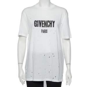 تي شيرت جيفنشي قطن طبعة شعار الماركة أبيض نمط ممزق مقاس صغير جدًا - إكس لارج