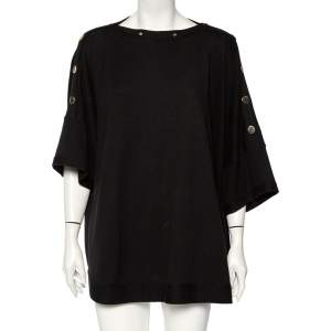 Givenchy Black Knit Buttoned Shoulder Detail Oversized Top XS