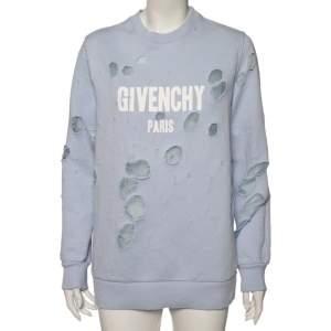 Givenchy Light Blue Cotton Logo Printed Distressed Oversized Sweatshirt XS