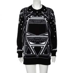 Givenchy Monochrome Knit Geometric Stars Print Sweatshirt S