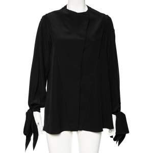 Givenchy Black Silk Sleeve Tie Detail Button Front Collarless Shirt M