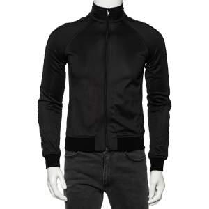 Givenchy Black Jersey Logo Trimmed Bomber Jacket M
