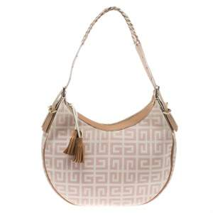 Givenchy Pink/Beige Signature Canvas and Leather Hobo