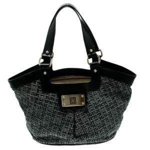 Givenchy Black/Grey Monochrome Signature Fabric and Leather Hobo