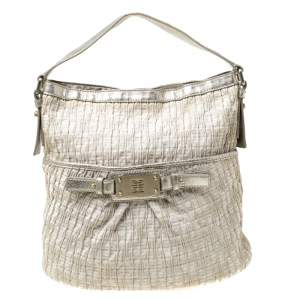 Givenchy Beige Shimmering Canvas and Leather Trim Hobo