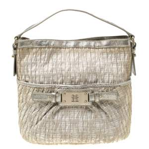 Givenchy Beige Shimmering Canvas and Leather Small Trim Hobo