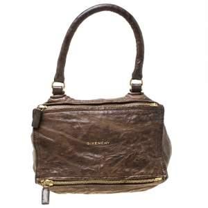 Givenchy Brown Crinkled Leather Medium Pandora Shoulder Bag