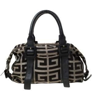 Givenchy Black Monogram Canvas and Leather Buckle Shoulder Bag