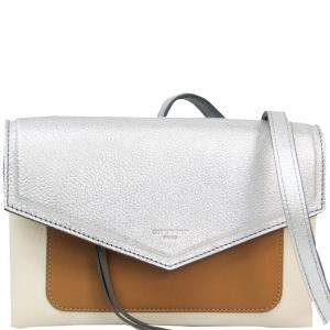 Givenchy Beige/Silver Leather Duetto Crossbody Bag