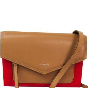 Givenchy Brown/ Red Leather Duetto Crossbody Bag