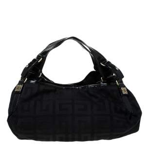 Givenchy Black Monogram Canvas and Patent Leather Hobo