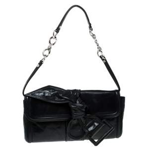 Givenchy Black Leather Knot Clutch