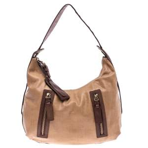 Givenchy Beige/Brown Monogram Embossed Leather Double Zip Pocket Hobo