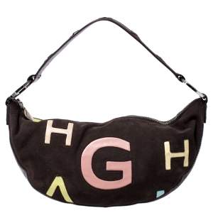 Givenchy Dark Brown Nubuck and Leather Half Moon Hobo