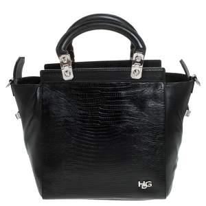 Givenchy Black Croc Embossed Leather Satchel