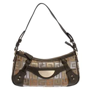 Givenchy Beige/Metallic Monogram Canvas and Leather Baguette