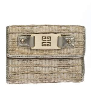 Givenchy Ivory Fabric Flap Compact Wallet