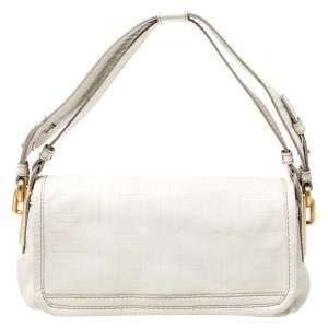 Givenchy Off White Logo Embossed Leather Flap Shoulder Bag