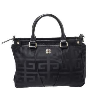 Givenchy Black Monogram Nylon and Leather Satchel