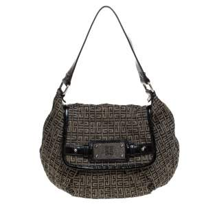 Givenchy Brown/Black  Monogram Canvas and Patent Leather Hobo
