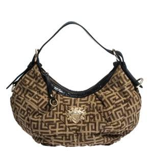 Givenchy Brown/Black Monogram Canvas and Leather Hobo