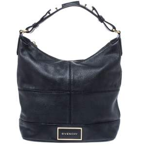 Givenchy Black Leather Logo Hobo
