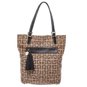 Givenchy Brown Monogram Canvas and Leather Tassel Zip Tote