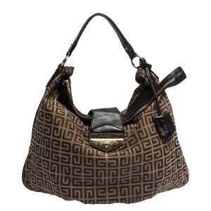 Givenchy Brown Monogram Canvas and Leather Flap Hobo