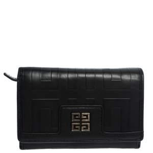 Givenchy Black Monogram Leather Flap Wallet