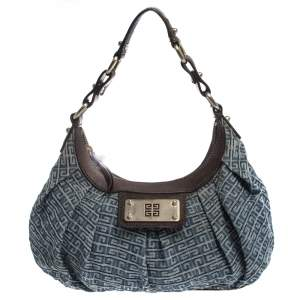 Givenchy Blue/Brown Monogram Denim and Leather Small Hobo