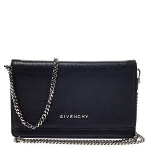 Givenchy Black Leather Pandora Wallet on Chain