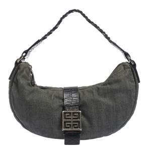 Givenchy Grey/Black Denim and Leather Hobo