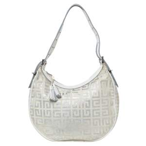 Givenchy White/Silver Monogram Canvas and Leather Tassel Zip Hobo