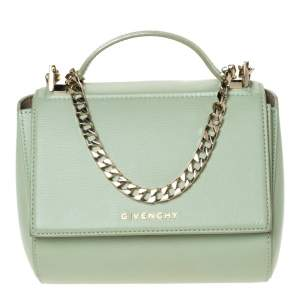 Givenchy Lime Green Leather Mini Pandora Box Shoulder Bag