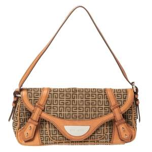 Givenchy Beige/Tan Monogram Canvas and Leather Baguette Bag