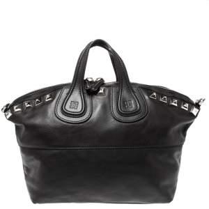 Givenchy Black Leather Nightingale Studded Satchel