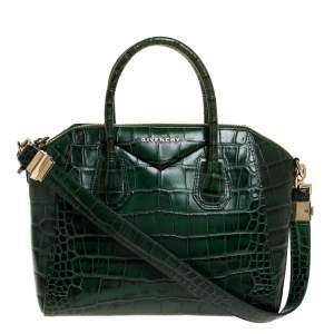 Givenchy Green Croc Embossed Leather Small Antigona Satchel