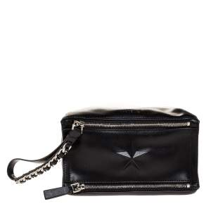 Givenchy Black Leather Pandora Wristlet Clutch