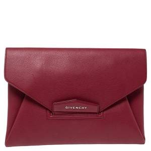 Givenchy Ruby Red Leather Antigona Clutch
