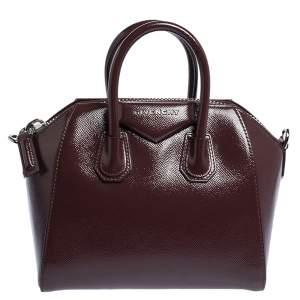 Givenchy Burgundy Patent Leather Mini Antigona Satchel