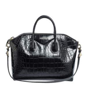 Givenchy Black Croc Embossed Leather Medium Antigona Satchel
