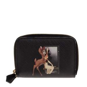Givenchy Black Leather Mini Bambi Zip Around Wallet